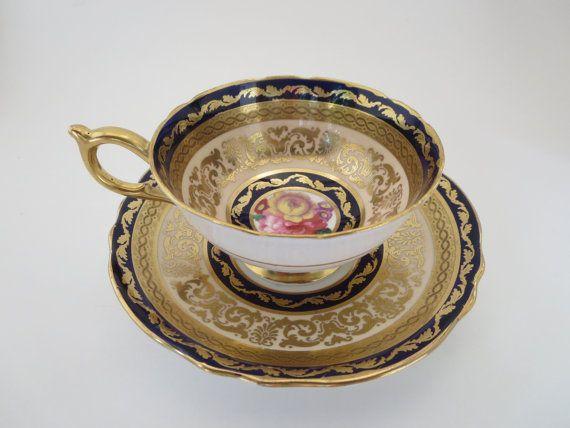 PARAGON TEACUP, Porcelain, Gilded, Tea set, Teacup saucer, Collectible, Vintage, England cup, Tea coffee service, Gift