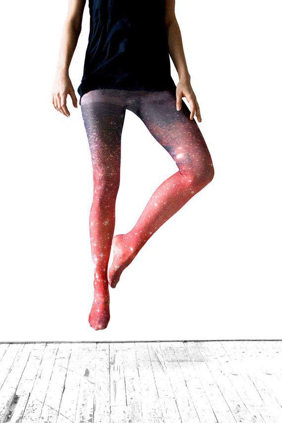 Galaxy Tight - Crimson Nebula Ombre Tights, Sheer Leggings.