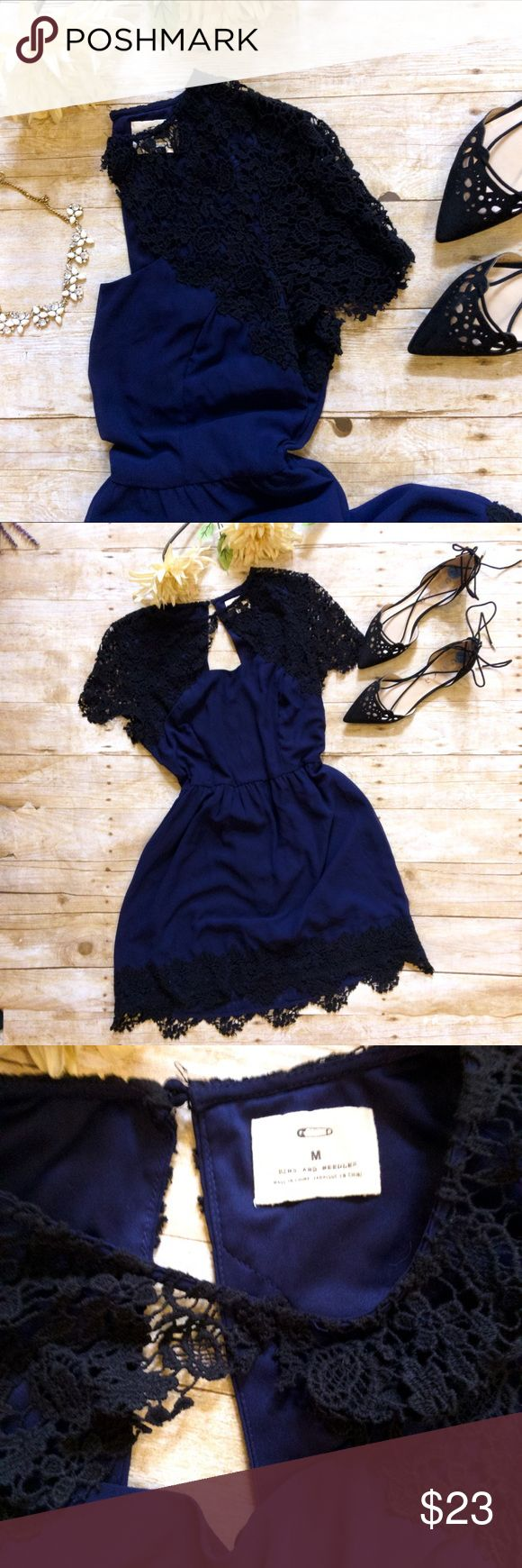 PINS & NEEDLES Crochet Navy Dress Gorgeous navy blue dress with beautiful black Crochet detailing at the sleeves and hem! Cut out back! Fully lined! Perfect for a wedding, party, night out! Perfect summer dress! Urban Outfitters Dresses