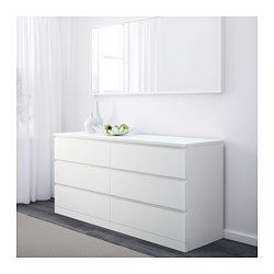 Of course your home should be a safe place for the entire family. That's why hardware is included so that you can attach the chest of drawers to the wall. A wide chest of drawers gives you plenty of storage space as well as room for lamps or other items you want to display on top. Smooth running drawers with pull-out stop. If you want to organize inside you can complement with SKUBB box, set of 6.