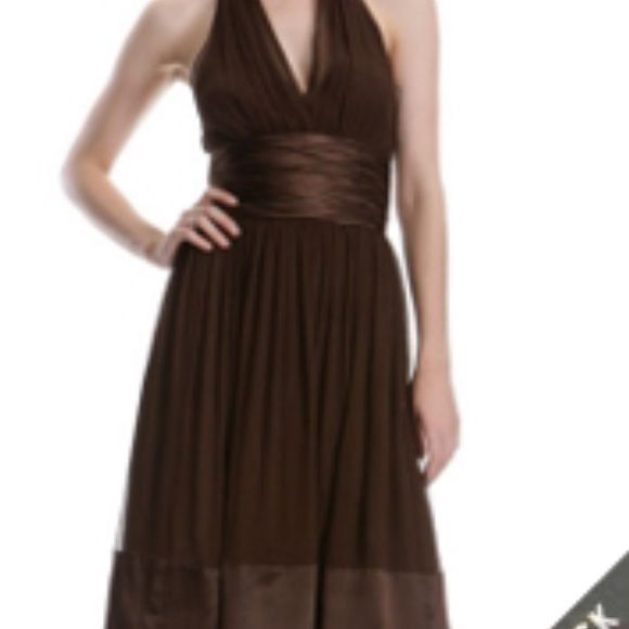 HOST PICK 12/06 Maggy London Brown halter dress/6 Lovely brown satin and chiffon dress by Maggy London sz 6 Maggy London Dresses Midi