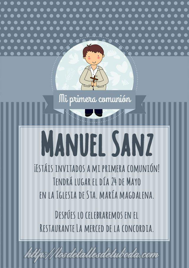 Blog de los detalles de tu boda   Invitaciones de comunión para descargar gratis   http://losdetallesdetuboda.com/blog