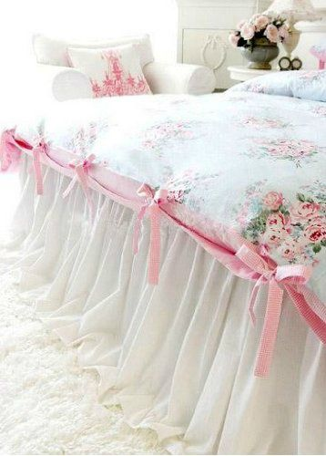 Love the long white flowing skirt effect could be sewn to a duvet cover