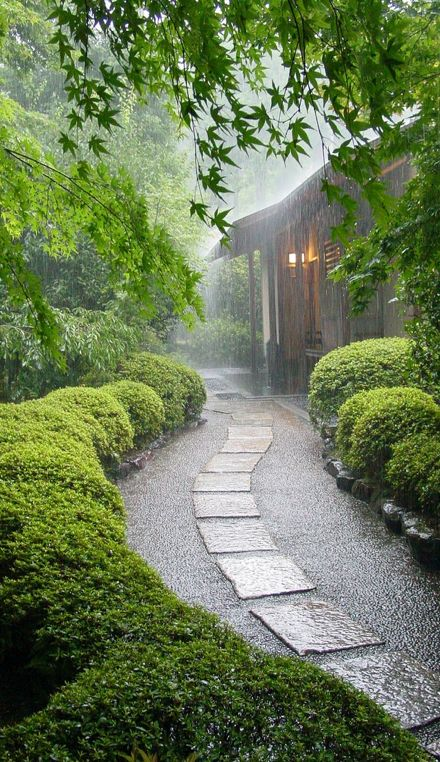 Rainy Day ~ Kyoto, Japan...would love to hear the sound of this picture...take in the scent of the rain striking the stone path heated by the day...see the green reaching up to be refreshed...