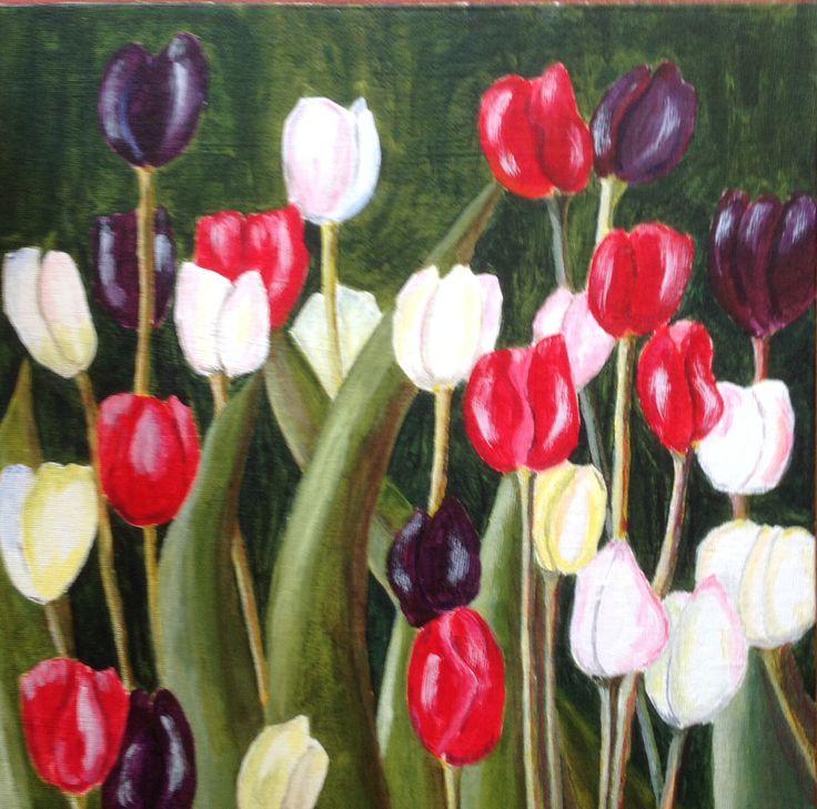 Tulip garden, acrylic