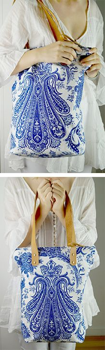 Traditional Indian paisley prints create a striking modern tote handbag. Printed onto textured cotton canvas, carrying one of these beachy chic accessories feels like holding a little work of art. This indigo + white tote has leather handles, washable lining and zipper closure. Shop Kokomo accessories > Online or visit us in Noosa! <3   www.kobomo.com.au