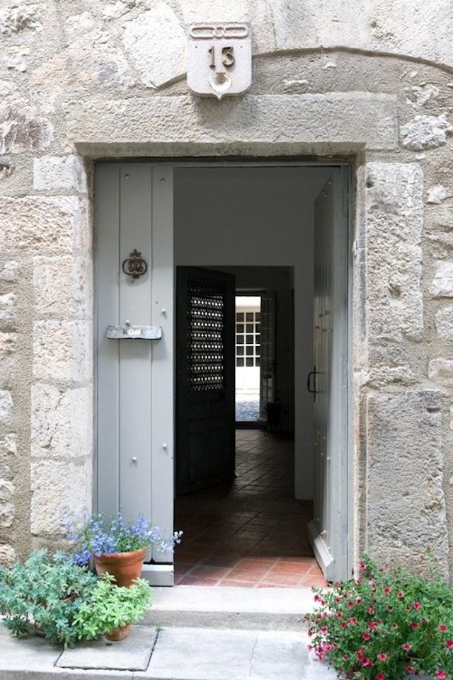 Farrow and Ball Parma Gray painted door on House La France