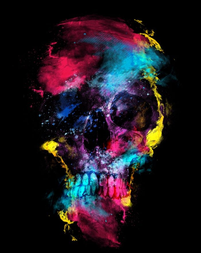 Skull - Space Art Print #skull #space #digital