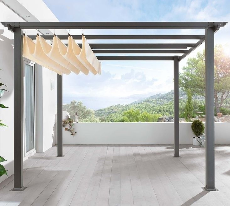 "Super cool!  Description below:  ""Turn a patio into a pavilion with a freestanding German-made pergola you assemble yourself (retractable canopy included).  Fully assembled, a square 9.5-foot Pergola Frame And Roof stands approximately 7 feet high and is €479 from Gingar."""