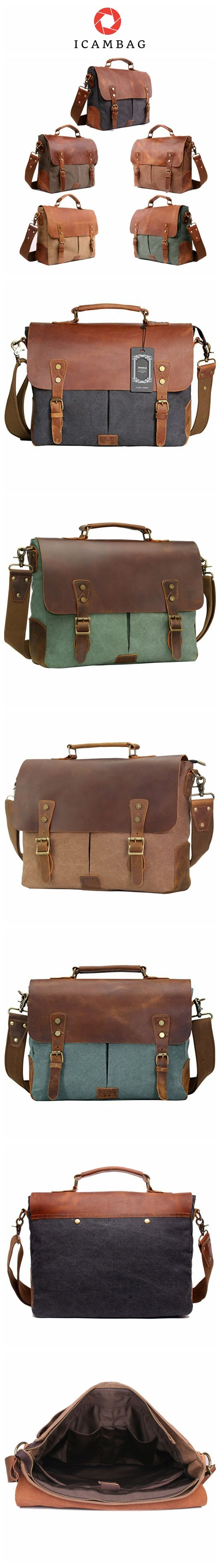 Leather Vintage Messenger Bag for 15.6 inch laptops,Satchel Briefcase Bag for Men and Women Green 6807