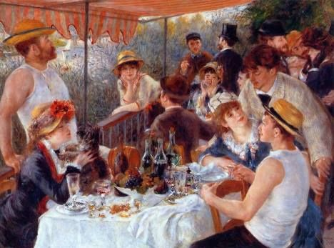 amigos de Renoir relaxando numa varanda no rio Sena.