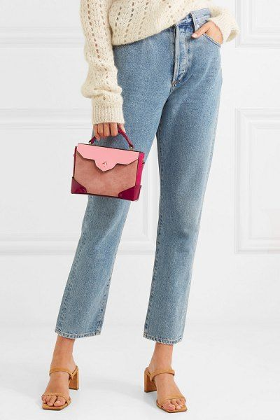 532d06a920 Manu Atelier bold color-block suede and leather shoulder bag.  manuatelier   bags