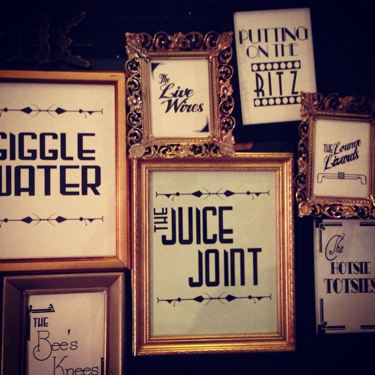 Decorations for the walls could include photo frames with classic sayings/words specific to the 1920's era