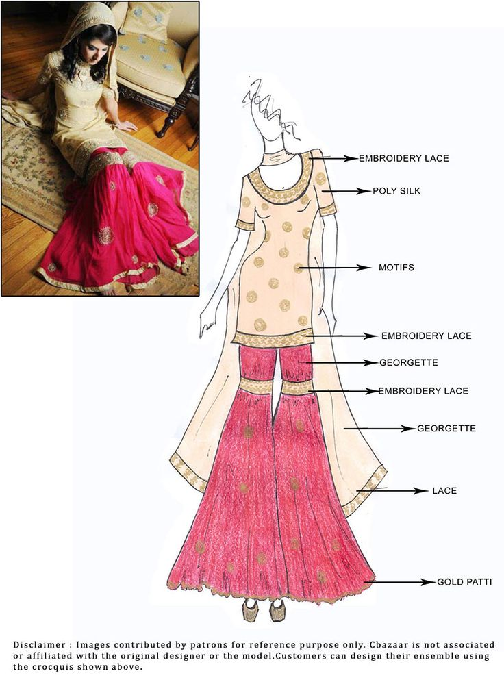 DIY Cream Art Silk Sharara Suit. However, I would make into a lehnga.