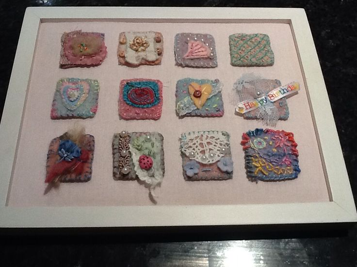 Inchie art for my friends birthday. Each square is a piece of recycled wool blanket.