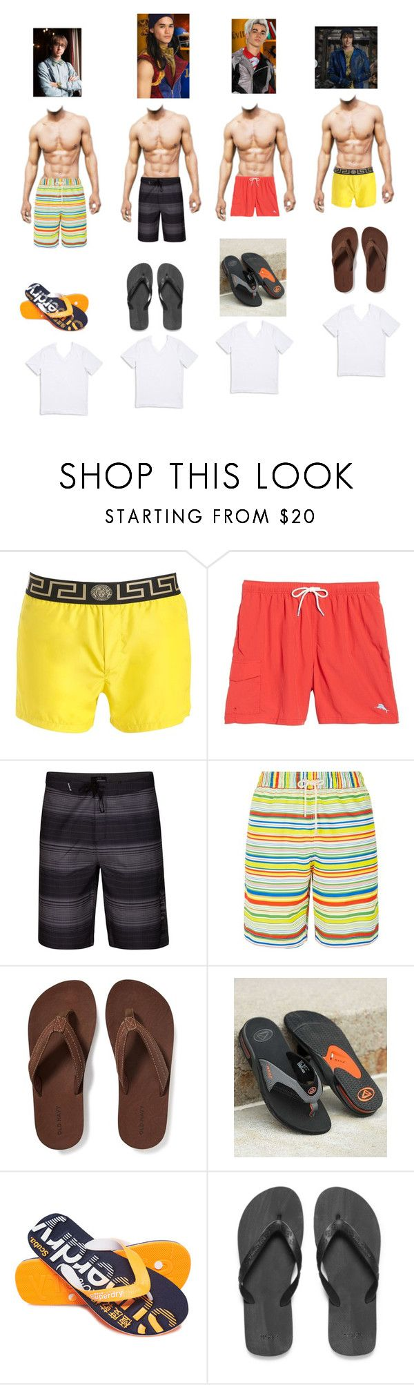 """Beach Day"" by allyssaannayoung13-clearwater ❤ liked on Polyvore featuring Versace, Tommy Bahama, Hurley, Loewe, Old Navy, Reef, Superdry, BOSS Orange, 1670 HBC and men's fashion"