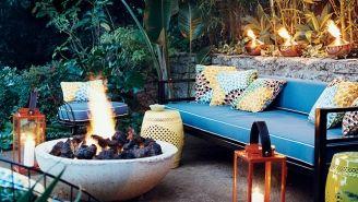 Décor de terrasse avec feu de joie