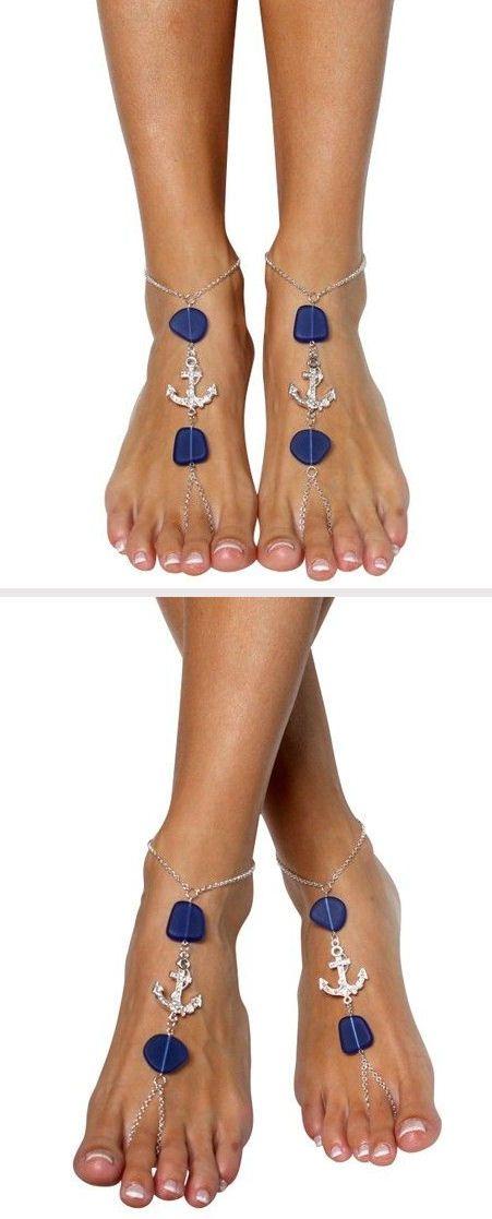 Anchor & Sea Glass Barefoot Sandals   #nautical #love