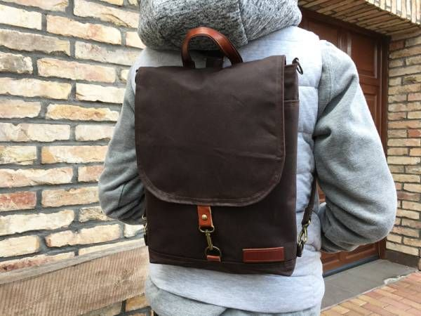 Dark Brown Waxed Canvas Backpack