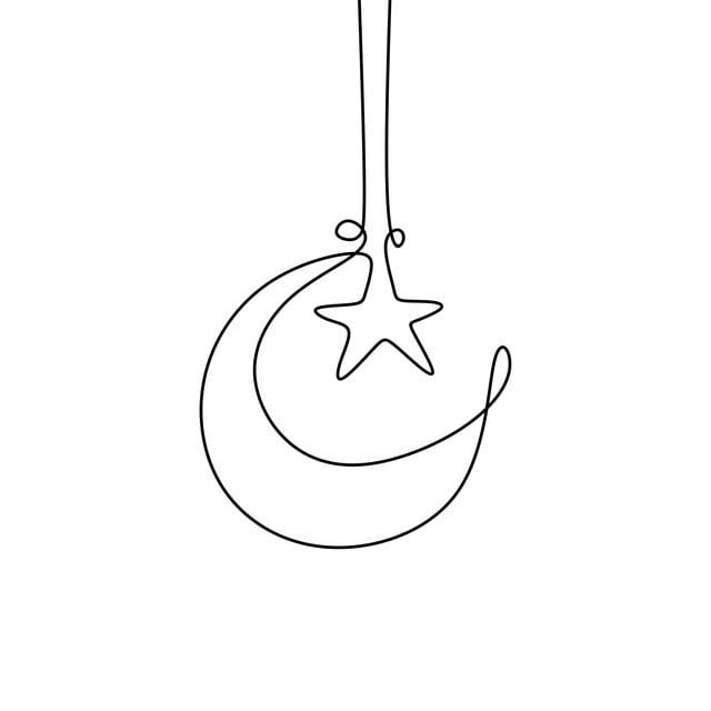 Continuous Line Drawing Of Moon And Star For Ramadan Kareem Moon Clipart Design Flat Png And Vector With Transparent Background For Free Download Continuous Line Drawing Line Art Flowers Simple Line