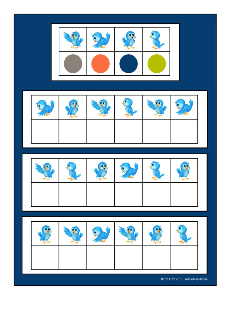 Board for the blue bird visual perception game. Find the belonging tiles on Autismespektrum on Pinterest. By Autismespektrum