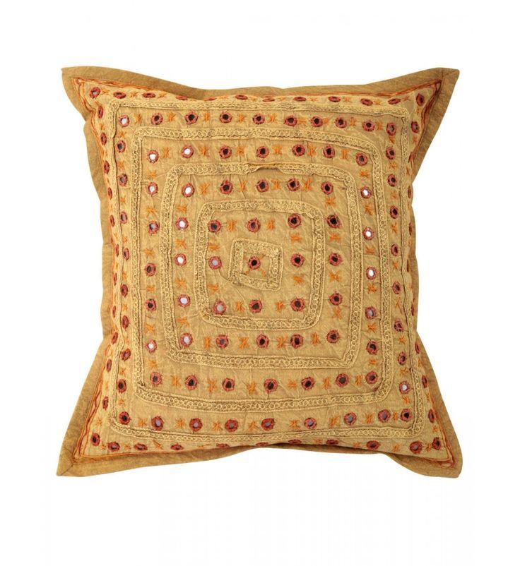 brown Mirror Embroidered Decorative Sofa Bohemian Pillow Cushion Throw Cover  16*