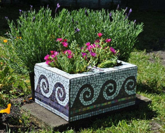 Upcycled mosaic cinder block garden planter-purple tile and white glass wave motif