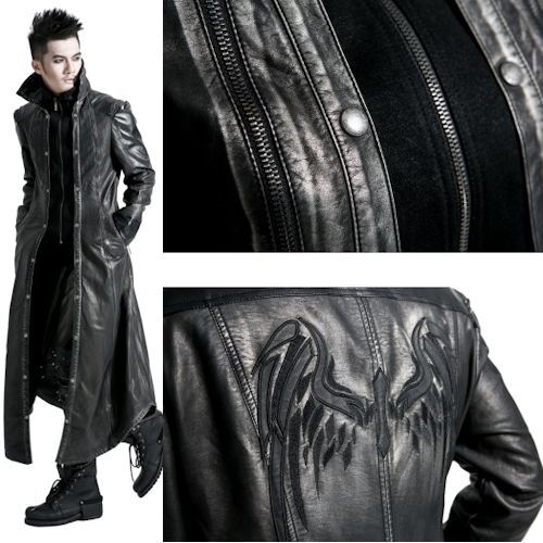 Men Black Faux Leather Long Gothic Coats Jackets Windbreakers Clothes SKU-11401204