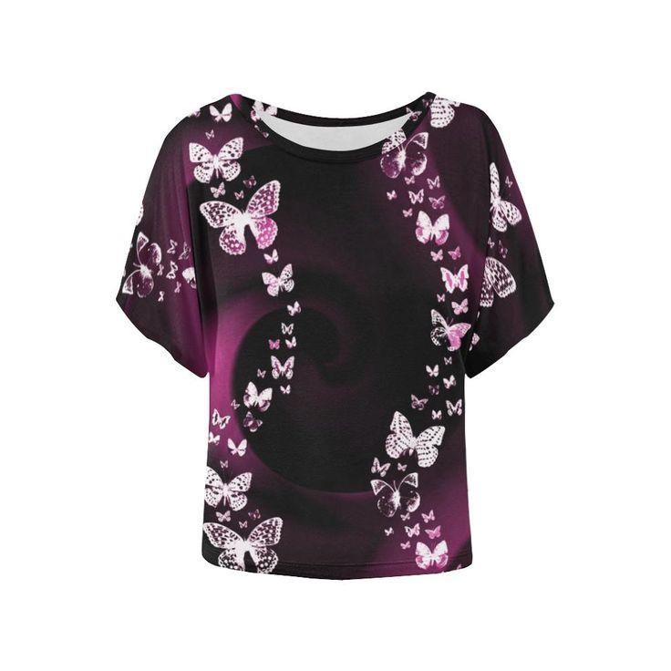 Pink Butterfly Swirl Women's Batwing-Sleeved Blouse T shirt (Model T43)
