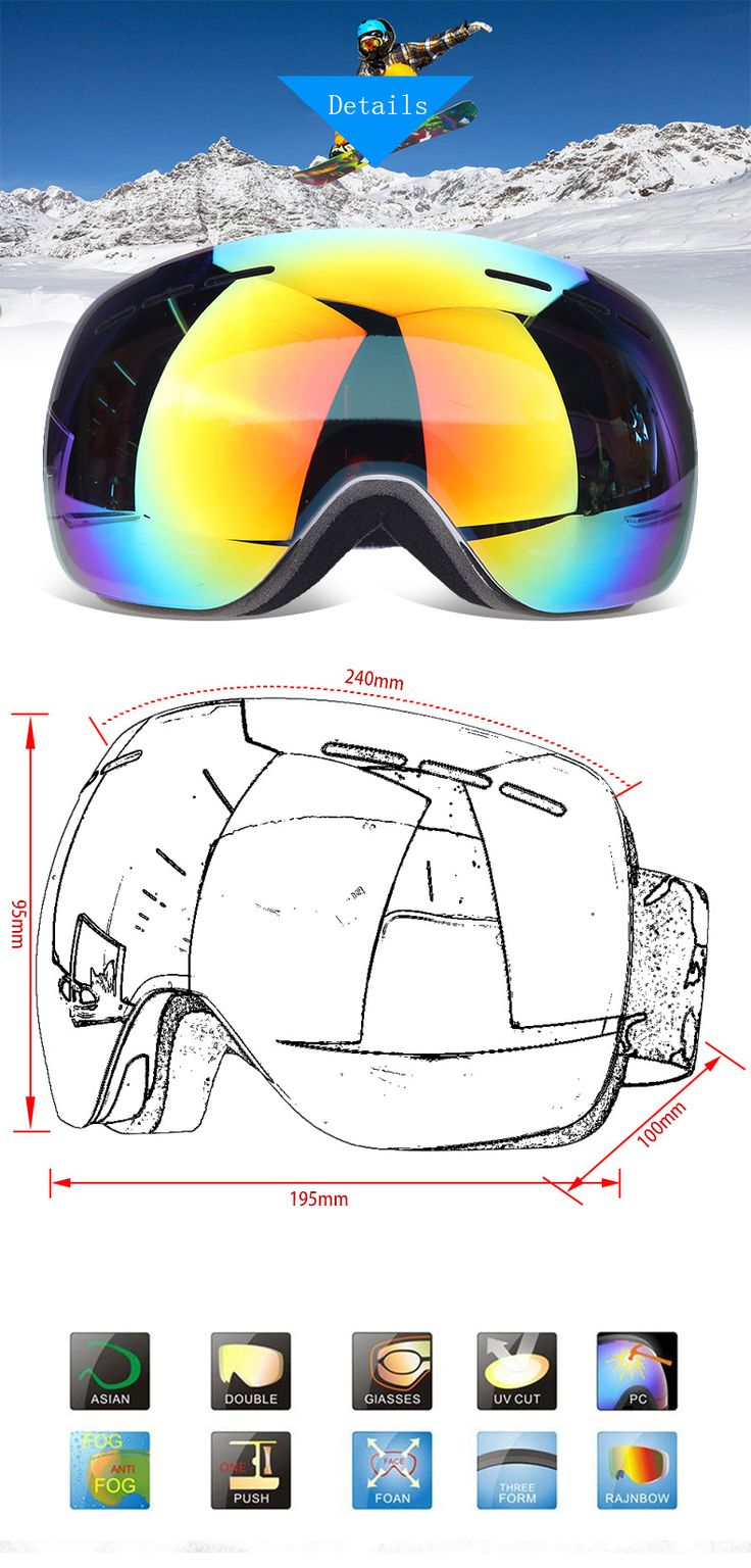 KALOAD H003 Ski Goggles Double Lens Anti Fog Spherical  Men Women Unisex Multicolor Snow Glasses