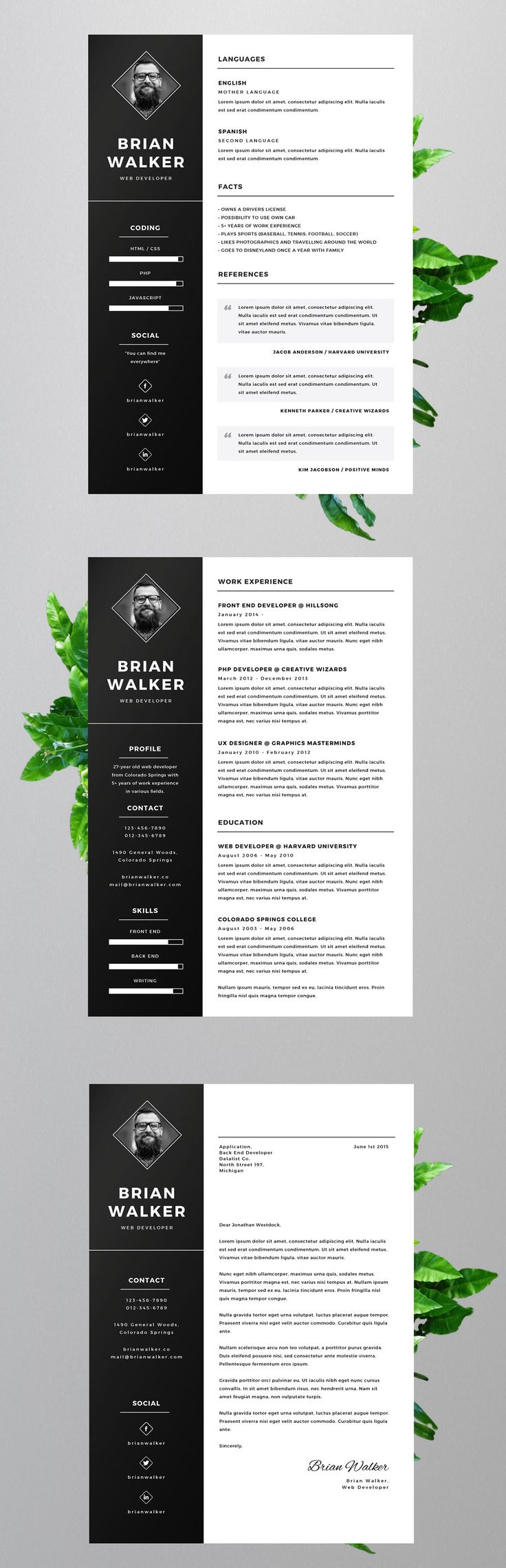 Free Resume Template For Word, Photoshop U0026 Illustrator  Free Word Resume Templates