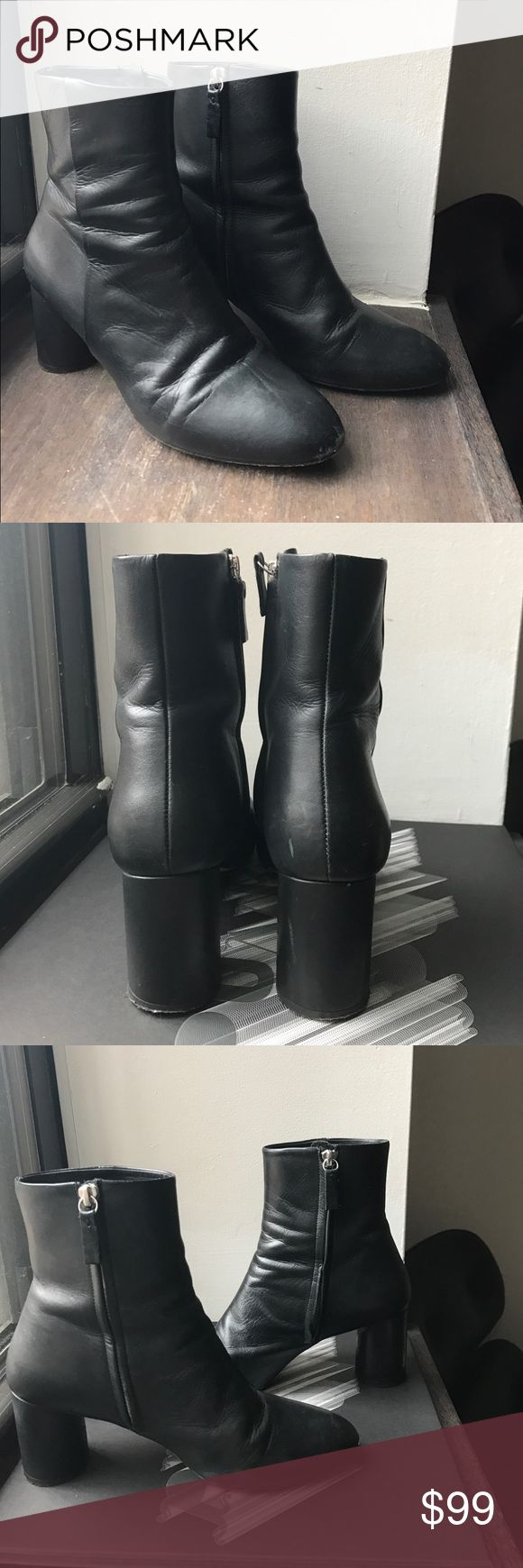 COS black leather Cylinder heel ankle boot Genuine leather black ankle boot, with inside zip closure. Size 39 fits like a size 8.5. Light wear at the toe. Brand- COS COS Shoes Ankle Boots & Booties