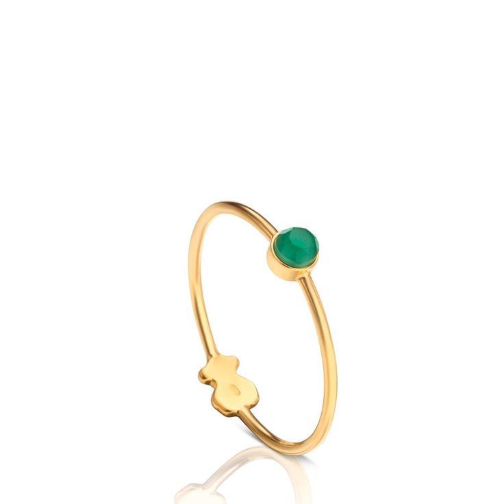 Złoty pierścionek z zielonym kamieniem Tous Mini Bright
