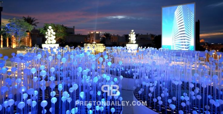 art installation corporate event lighting & projection lounge modern reception stage table setting