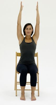 10 Yoga Poses You Can Do in a Chair: Chair Raised Hands Pose - Urdhva Hastasana