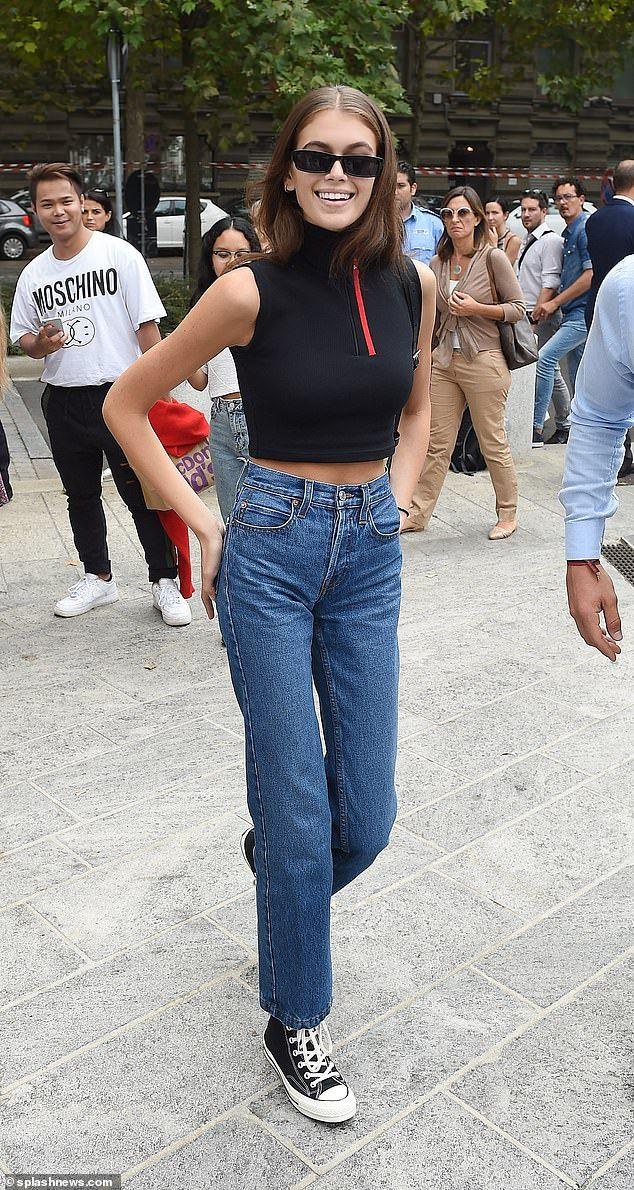9e09f3088a884 Kaia Gerber wears black crop-top as she marches through Milan