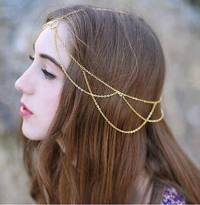Wave Gold Tassel Chain Hair Jewel Metal Women Rhinestone Lady Comb Clip | eBay