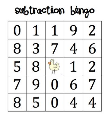 Here's a set of four different cards for playing subtraction bingo.: Plays Subtraction, First Grade Math Bingo, Math Bingo First Grade, Freebies Subtraction, Writing Freebies, Math Activities, Grade Oned, Writing Ideas, First Grade Subtraction Games