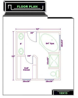Bathroom floor plans bathroom plans free 12x13 for Efficient master bathroom layouts