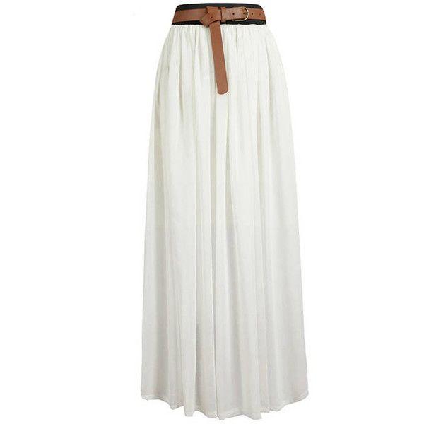 Maykool White Stylish Chiffon Maxi Skirt ($19) ❤ liked on Polyvore featuring skirts, bottoms, saias, maxi skirts, white, elastic waist skirt, long boho skirt, white chiffon skirt, boho skirt and long skirts
