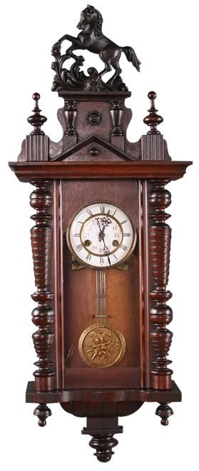 Antique clock, regulator clock with horse carving and ...