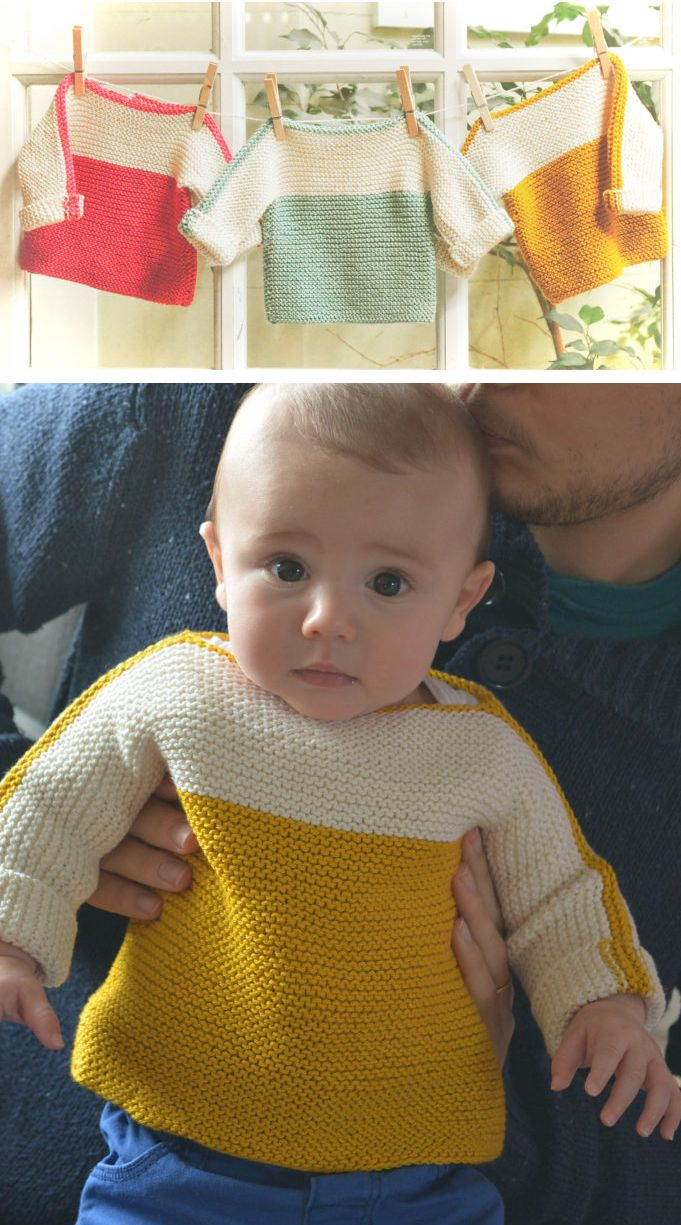 Free Knitting Pattern for Easy Macaron Baby Sweater - Inspired by the colorful French macaron sandwich cookies, these pullovers are knit in garter stitch with a boatneck neckline and a one button closure in the back. Sizes Newborn, 3 months, 6-9 months, 12-18 months, 2-3 years, 4 years. Rated easy by Ravelrers. Designed by The Noble Thread in DK yarn. Pictured project by Alexandra Belmont