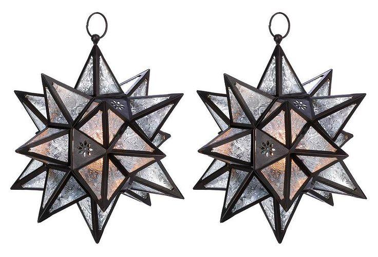 "One Kings Lane - Breath of Fresh Air - S/2 14"" Moroccan Hanging Star Lanterns"