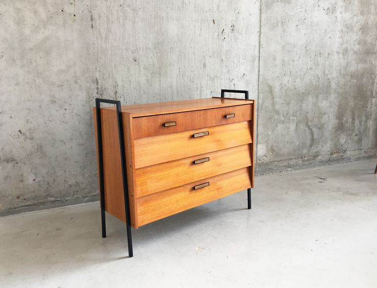 Mid Century German Small Teak Sideboard 1960s