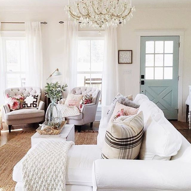 Farmhouse Inspiration | Traditional Meets Farmhouse | White Couches | Hardwood Floors | Light Blue Door