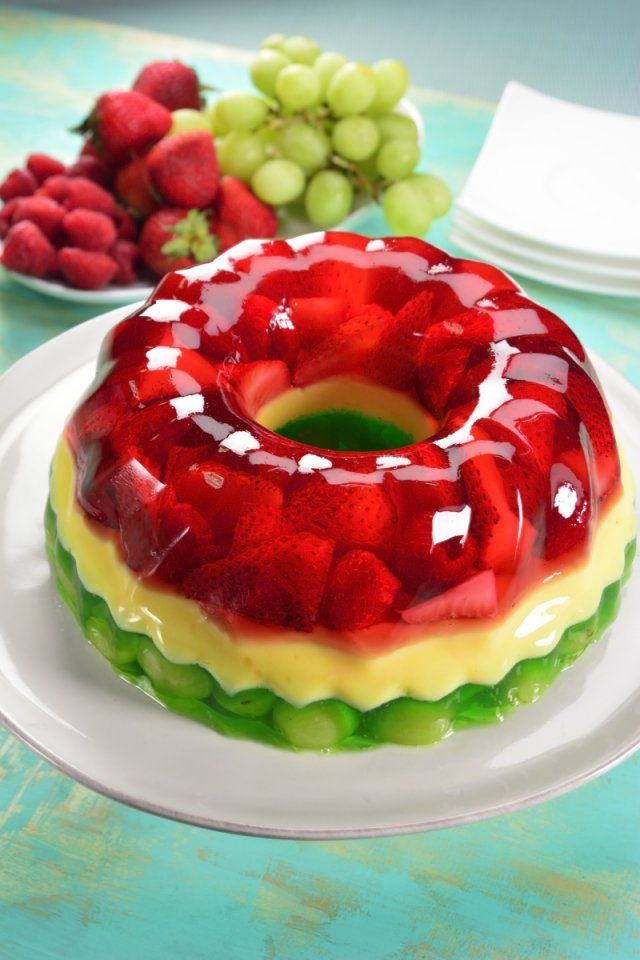 Tricolor Gelatin Of Fruits And Vanilla Recipe Jello Recipes