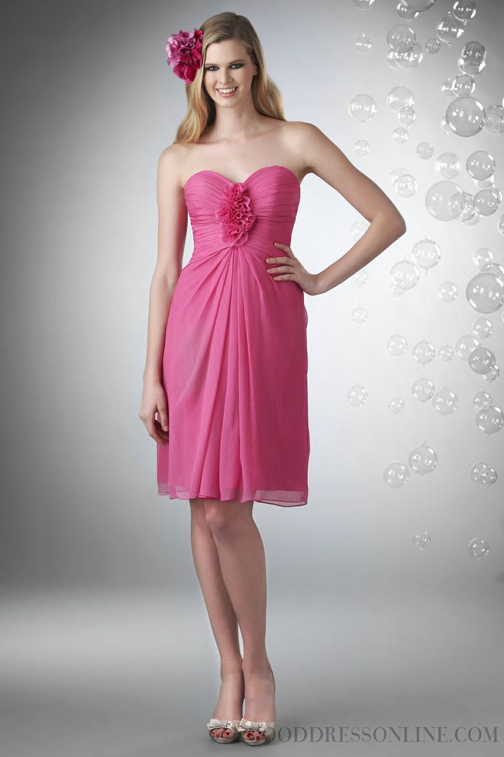2014 Simple A-line Sweetheart Flower(s) Chiffon Bridesmaid Dresses