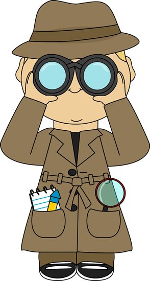 Detective with binoculars. This is the type of clothing our detective will wear so he can stereotypically be recognised without stating it.