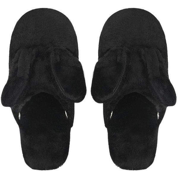 Adults Thermal Plush Winter Slippers Rabbit Ears Thicken Warm Slip-on... ($7.50) ❤ liked on Polyvore featuring men's fashion, men's shoes, men's slippers, mens wide shoes, mens wide fit shoes, mens slipon shoes, mens wide fit slippers and mens slip on slippers