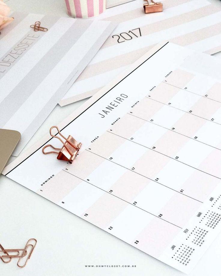 Planner Mensal 2017 - Freebie da semana - Oh My Closet!